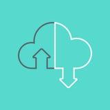Caricamento di programmi oggetto della nuvola, progettazione piana fotografie stock