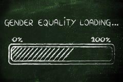 Caricamento di uguaglianza di genere, illustrazione della barra dei progess Fotografia Stock