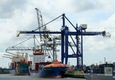 Caricando e scaricare nel porto di Rotterdam Immagini Stock