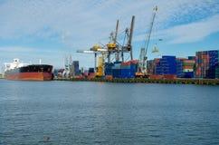 Caricando/scaricare i container nel porto di Rotterdam, Paesi Bassi Immagini Stock