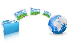 Caricare le immagini dalla cartella blu Fotografia Stock