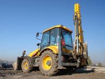 Caricatore dell'escavatore a cucchiaia rovescia fotografie stock libere da diritti