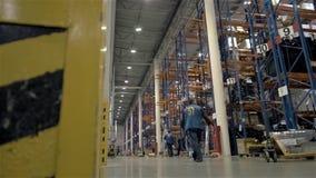 Caricatore di trasporto dell'uomo con le merci al magazzino Concetto all'ingrosso, logistico, della spedizione e della gente video d archivio