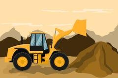 Caricatore frontale che fa il lavoro di estrazione mineraria e della costruzione Macchinario pesante illustrazione vettoriale