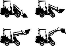 Caricatori del manzo di scivolo Macchine della costruzione pesante Immagine Stock