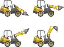 Caricatori del manzo di scivolo Macchine della costruzione pesante Illustrazione di vettore Immagini Stock Libere da Diritti