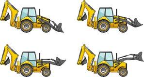 Caricatori dell'escavatore a cucchiaia rovescia Macchine della costruzione pesante Fotografia Stock
