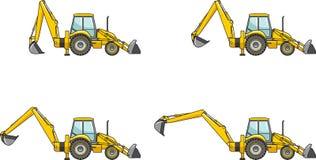 Caricatori dell'escavatore a cucchiaia rovescia Macchine della costruzione pesante Illustrazione di vettore Fotografia Stock Libera da Diritti