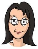 Caricatura de la muchacha con el pelo negro y los vidrios Imágenes de archivo libres de regalías