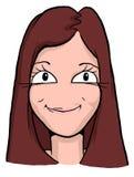Caricatura de la muchacha con el pelo rojo y los labios estrechos Imágenes de archivo libres de regalías