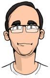 Caricatura del giovane con capelli neri Fotografie Stock Libere da Diritti