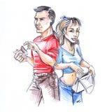 Caricatura del hombre y de la mujer Fotografía de archivo