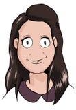 Caricatura della ragazza castana sorridente Fotografie Stock Libere da Diritti