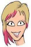 Caricatura della ragazza con capelli biondi e rossi, le labbra rosa ed il grande smyle Immagini Stock Libere da Diritti