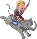 Caricatura di Donald Trump Riding Republican Elephant Immagine Stock