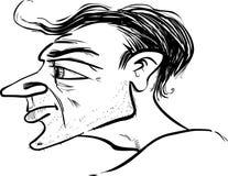Caricatura di profilo dell'uomo Immagini Stock