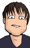 Caricatura do homem novo com restolho Fotografia de Stock Royalty Free