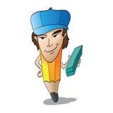 Caricatura do homem vestida como o lápis Fotos de Stock