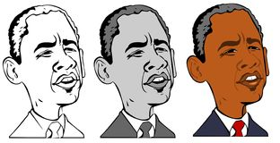 Caricatura do obama de Barack Fotografia de Stock Royalty Free