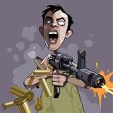 A caricatura dos desenhos animados de um homem emocional ateia fogo a uma arma Fotos de Stock