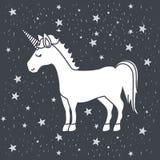 Caricatura monocromatica dell'unicorno maschio nel cielo stellato Fotografia Stock Libera da Diritti