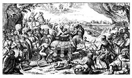 Caricatural flyer of the  Thirty Years War end, XVII century Stock Photos
