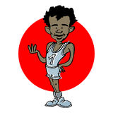 Caricature of african, indian or latino runner athlete, cartoon Stock Image