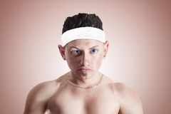 Caricature of angry fitness trainer Stock Photography