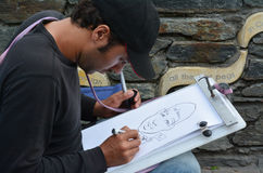 Caricature Art - Street-style caricature Stock Photo