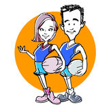 Caricature of basketball couple cartoon Stock Photo