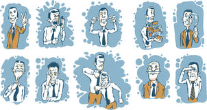 Caricature businessmen in various situations. Vector illustration of Caricature businessmen in various situations. Easy-edit layered vector EPS10 file scalable Royalty Free Stock Photo