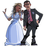 Caricature cartoon groom and bride. Cartoon Bride is holding disgruntled groom for his tie Stock Photo