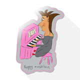Caricature cartoon pianist Royalty Free Stock Images