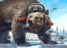Caricature character bear. Propaganda cliche. Grotesque caricature character. Formidable in a soldier`s hat looks away West`s and smokes. Comic image of Russia