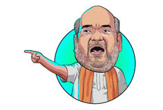 Caricature character illustration of AMIT SHAH in angry expression pointing finger. Vector Illustration. Isolated on white background Royalty Free Stock Photo