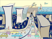 Caricature of the city. Tunnel through the sea Stock Images