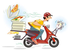 Caricature de service de distribution de pizza Photos libres de droits