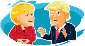 Caricature éditoriale d'Angela Merkel et de Donald Trump Images stock