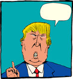 Caricature of Donald Trump with Word Balloon Stock Photo