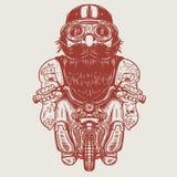 Caricature drôle de cycliste Coureur sur peu de moto Photos stock