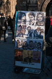 Caricature drawing on Charles Bridge, Prague. Stock Photos