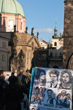 Caricature drawing on Charles Bridge, Prague. Royalty Free Stock Images