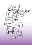 Caricature of female violinist Stock Images