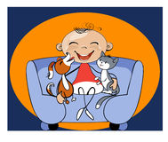Caricature funny kid with his pets Royalty Free Stock Images