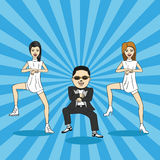 Caricature of gangnam dance. Royalty Free Stock Images