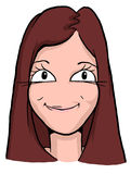 Caricature of girl with red hair and narrow lips Royalty Free Stock Images