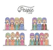 Caricature half body women people line with differents hairstyle set on white background Stock Image