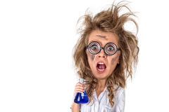 Caricature image of mad scientist Stock Images