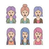 Caricature le mezze donne del corpo con i differents taglio di capelli e vestiti messi su fondo bianco Immagini Stock