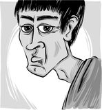 Caricature of man. Sketch caricature illustration of young man face Royalty Free Stock Image